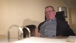 Secretary caught coworker sucking the elderly boss under desk