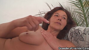 Two nubile boys share old mature woman