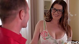 Ultra Hot & Busty Assistant in Glasses Rides a Rigid Dick