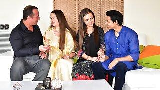 Man enjoys threesome rectal sex with steamy Desi bhabhi and wife