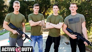 Savage Military Foursome Bareback Fuck Each Other