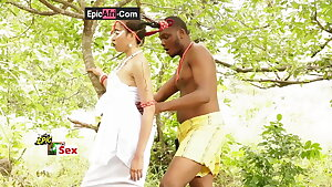 Sex with an ebony goddess – outdoor in a village