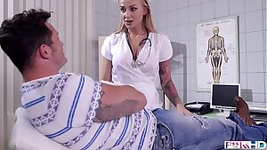 Big-boobed doctor Kayla Green footjobs her patient's cock until he busts a nut