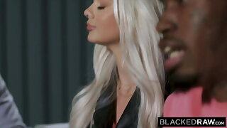 BLACKEDRAW, Gorgeous youthfull blonde besties take on two BBCs
