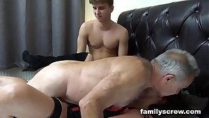 Fucked up Parent and Son Pounding an Old Cockslut