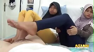 Two asian muslim babes jerking and begging for jizm
