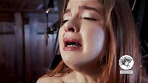 Weeping girl caned on her clit