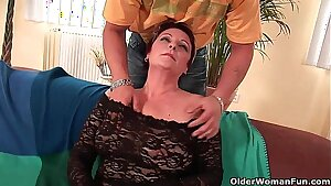 Luxurious grandma likes his cock in her mouth and hairy pussy