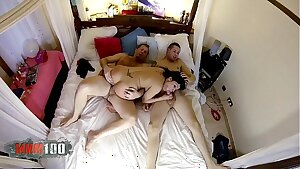 Immense tit and round ass latina picked up in the street and fucked by 2 guys