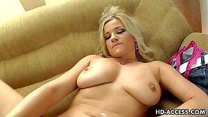 Horny blonde breezy Luciana goes solo!